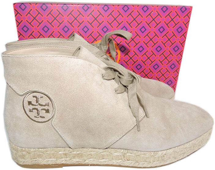 Tory Burch Rios Ankle Stiefel Flat Beige Logo Lace Up Espadrilles Booties 9 Boot