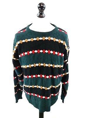 Kreativ Jantzen Mens Jumper Sweater L Large Green Black Red L Large Christmas Aztec SorgfäLtige FäRbeprozesse