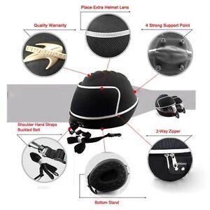New-Black-Motorcycle-Bike-Karting-Crash-Helmet-Bag-Carrier-Shell-Rucksack-Free