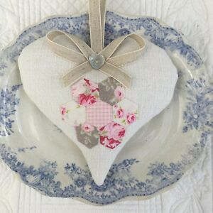 1 LAURA ASHLEY HYDRANGEA PINK//NATURAL LINEN COTTON Lavender Filled Fabric Heart