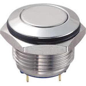 PULSANTE D=16mm GQ16F TERMINALI A SALDARE IP65 ACCIAIO INOX TIPO PIATTO