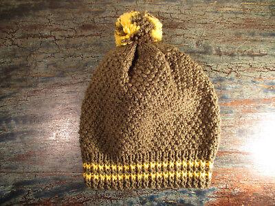 Baby Bommel Mütze Handgestrickt Oliv/gelb Gr.44/45 Woll Strickmütze Handcrafted