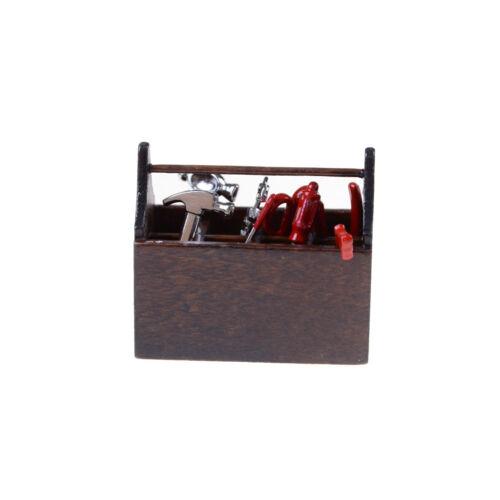 1:12 Scale Dollhouse Miniature Wooden Box Metal Hand Tools Set PLf