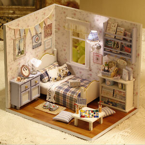 1-DIY-Wooden-Doll-house-Miniature-Kit-w-Cover-LED-Light-Dollhouses-All-Furniture