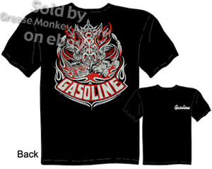 Gasoline Script Shirt Hot Rod T Shirt Garage Apparel Kustom Kulture Tee