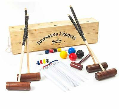 Garden Games Townsend Croquet Set in Wooden Box Pro Croquet 4 Player