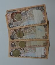 Cyprus Pre-Euro £1 Pound Banknotes x 4 + 4 Coins 20 & 10 Cent Vintage Bank Notes