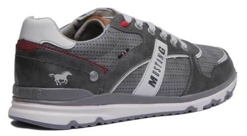 Mustang 4095-317 Men Synthetic Leather Grey Trainers UK Size 6-12