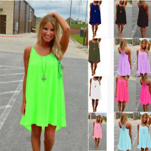 Women Sundress Summer Crew Neck Sleeveless Halter Dress Casual Loose Beach Dress