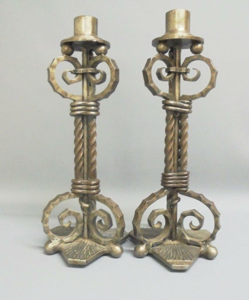 Unique Scandanavian Designer Candlesticks in Brushed Steel by J. WanLoo