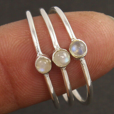 3 Pcs Tiny 925 Sterling Silver Ring Size US 9 Natural RAINBOW MOONSTONE Gemstone