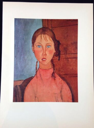 "PINK BLOUSE /"" MODIGLIANI Litho 1953 Vintage Full Color Art Plate /""GIRL w BRAIDS"