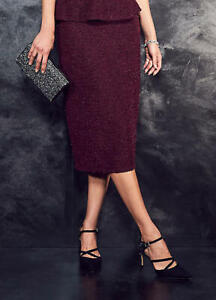 Almost Famous Burgundy Knit Flared Winter Skirt Size 10 NWT Sample RRP £115