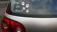 DOG / DOGS ON BOARD Puppy Animal Lover Pet vinyl window car sticker decal WHITE