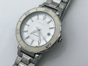 Fossil-Ladies-Watch-Silver-White-Tone-Date-Calendar-Analog-Wrist-Watch-WR-10ATM