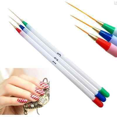 3P/set Drawing Nail Art Liner Design Painting Acrylic French Pen Brush Tools HS