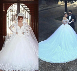 1e5e9caed Image is loading Arabic-Beaded-Long-Sleeve-Wedding-Dresses-Ball-Gown-