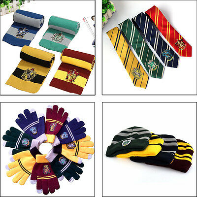 Harry Potter Cosplay Knit Costume Scarves Hat Gloves Tie Gryffindor Hufflepuff