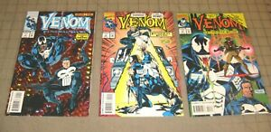 VENOM Funeral Pyre #1 thru #3 (1993) VF Condition Comic Set - with The Punisher
