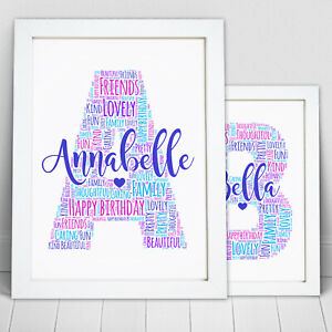 Personalised-Word-Art-Letter-Name-Initial-Picture-Print-Birthday-Frame-Gift
