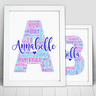 Birthday Gift Any Letter Personalised Word Art For Her Mum Initial Print P Print