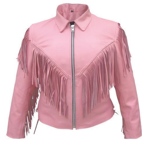 W Leather Ladies Fringe Western Style Zipout Motorcykeljakke Pink Liner 5xBnBqwX