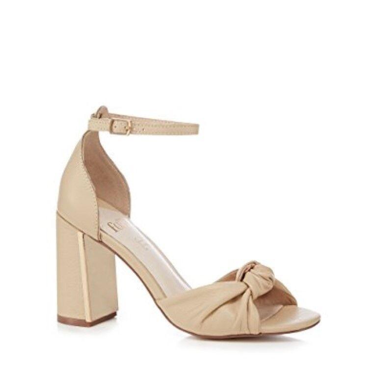 Faith Natural Cream Leather 'Lingo' High Block Heel Sandals UK 8 EU 41 JS50 33