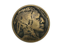 12 Indian Head 3/4 Inch ( 20 Mm ) Metal Buttons Antique Brass Color