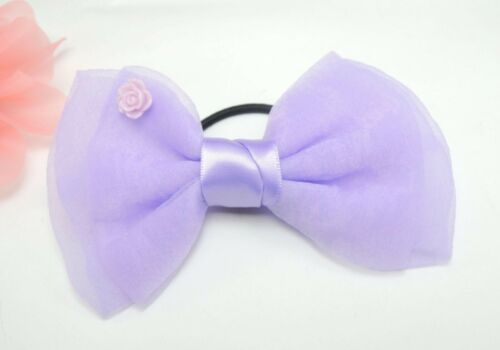 1PC Girls Kids Fancy Dance Party Yarn Bow Ribbon Hair Elastic Ponytail band