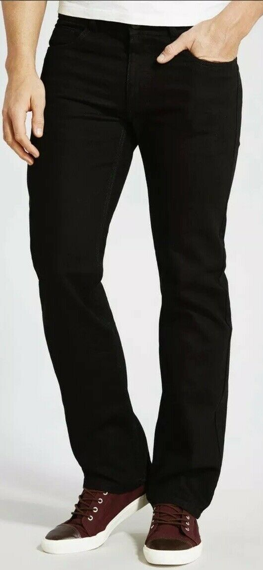 ACW MENS WEAR BLACK STRAIGHT CUT JEANS SIZE 36R Zip Fly Trousers Single Button