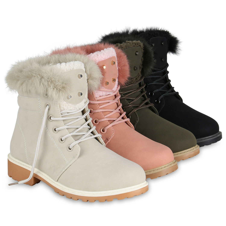 Damen Stiefeletten Worker Boots Profil Outdoor Block Absatz 819250 Schuhe