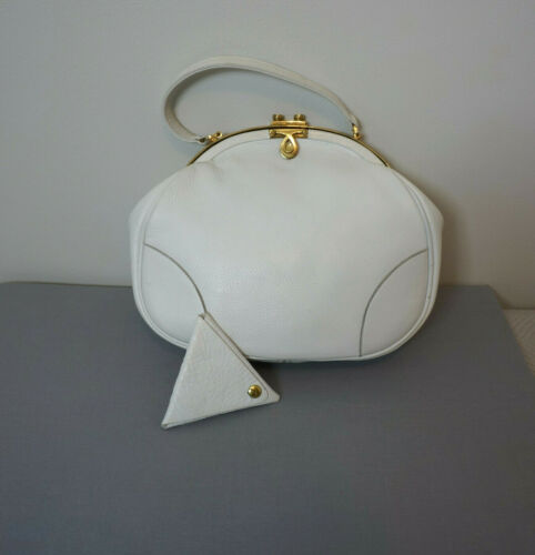 Vintage Roger Van S Purse White Leather with Coin