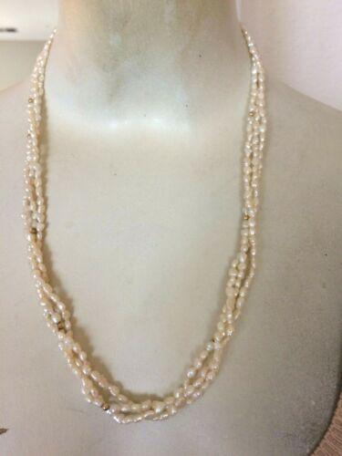 "Vintage Multi Strand 14k Pearl Necklace 23"""