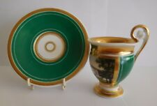 EARLY 19TH CENTURY FRENCH PARIS PORCELAIN TOPOGRAPHICAL CUP AND SAUCER