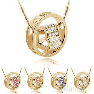 Women-Stunning-Party-Crystal-Chain-Rhinestone-Love-Heart-Ring-Pendant-Necklace