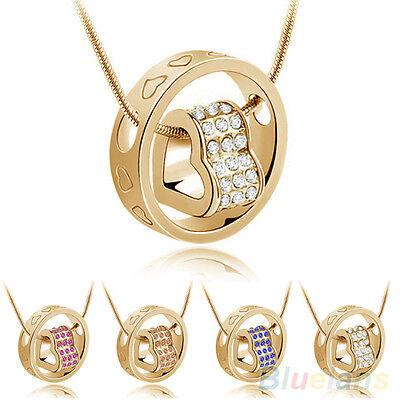 Women's Fashion Crystal Chain Rhinestone Gift Love Heart Ring Pendant Necklace