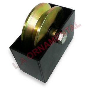 """4"""" Temper Steel V Groove Wheel Double Bearing Cover Box Driveway Gates Wheels"""