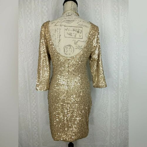 As You Wish Cocktail Dress Size Large Gold Sequin Bodycon 3//4 Sleeve Low Back
