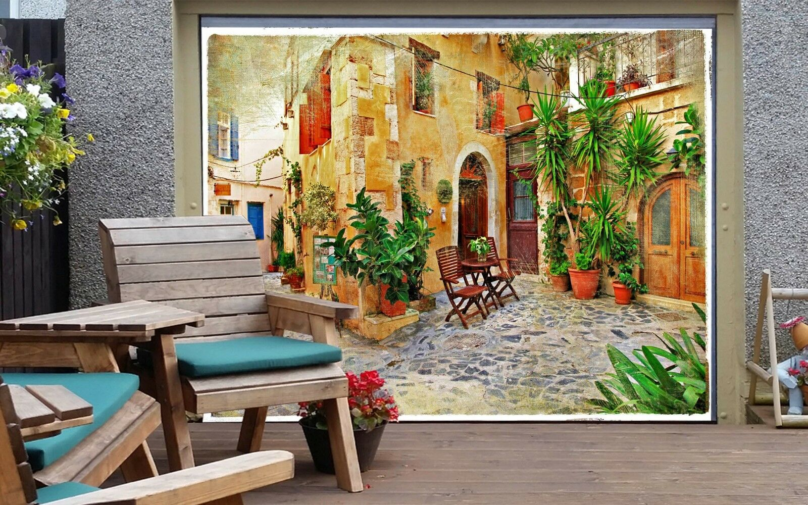 3D Courtyard 56 Garage Door Murals Wall Print Decal Wall AJ WALLPAPER AU Lemon