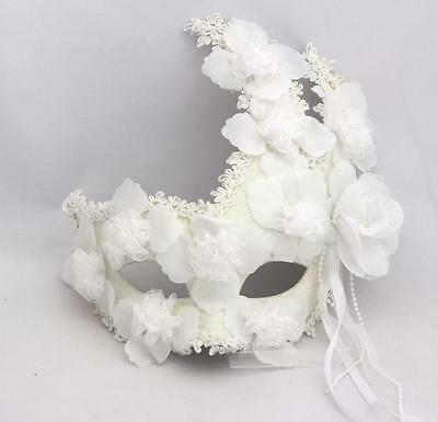 Handmade Venetian Full Face White Glitter Feather Flowers Masquerade Eye Mask