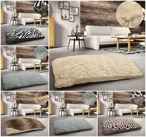 Large-Floor-Cushion-Animal-Print-Pet-Bed-Soft-Cosy-Fur-Multi-Purpose-Suede-Cream