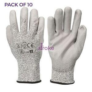 10 x cut 5 gants kevlar Pollycoton mélanger avec polyuréthane palm extra fort Protection