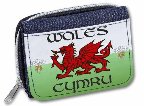 Wales Cymru Welsh Gift Girls/Ladies Denim Purse Wallet Christmas Gift, WALES-1JW