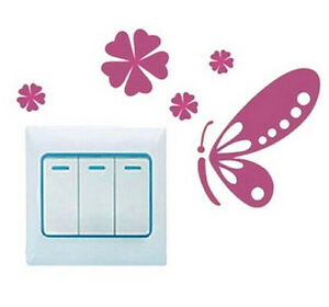 FD1242 Sweet Butterfly Switch Light Funny Wall Decal Vinyl Stickers DIY ~1pc~