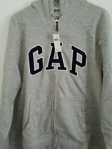 GAP-MENS-ARCH-LOGO-ZIPPER-HOODIE-SWEATSHIRT-HEATHER-GRAY-SIZE-L-NWT