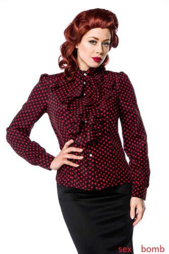 Glamour Camicia Sexy Collo Volant Pois Alto Fashion Balze Laterali Jabot Blusa p166wv