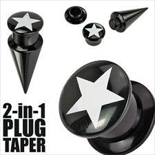 00g 2 in 1 Black Ear Taper Plug Acrylic Screw Fit White Star Gauges  1PR