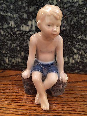 Vintage Royal Copenhagen Figurine #682 Boy on Rock (Jens)