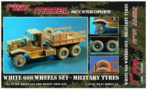 WHITE 666 wheels set Military tyres 1//35 Real Model resin RMA35262