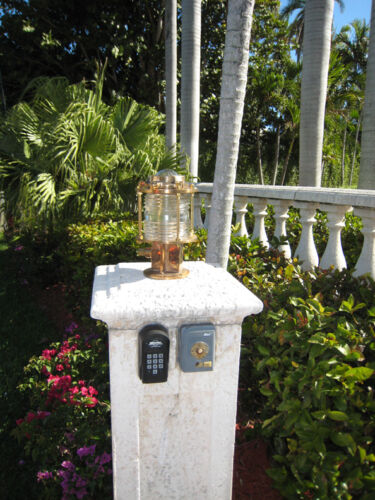 Bronze Pedestal Nautical Dock Light-Large bronze nautical marine ship light